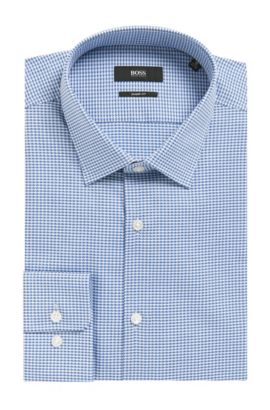 Geometric Cotton Dress Shirt, Sharp Fit l Marley US, Light Blue