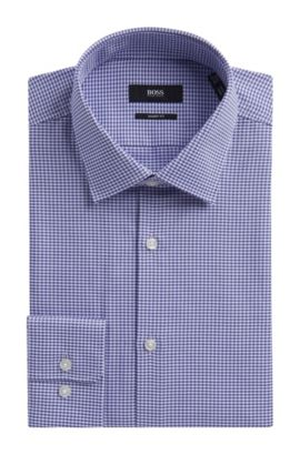 Geometric Cotton Dress Shirt, Sharp Fit l Marley US, Purple