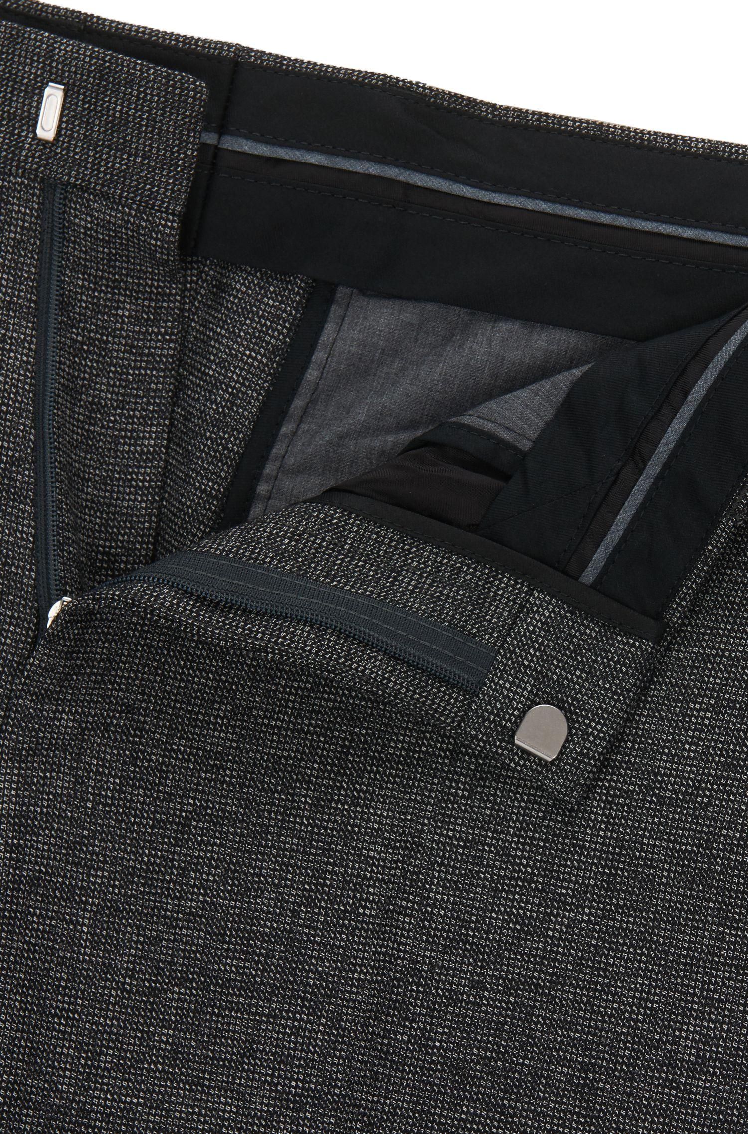 Nailhead Wool Cotton Dress Pants, Slim Fit | Giro, Open Grey