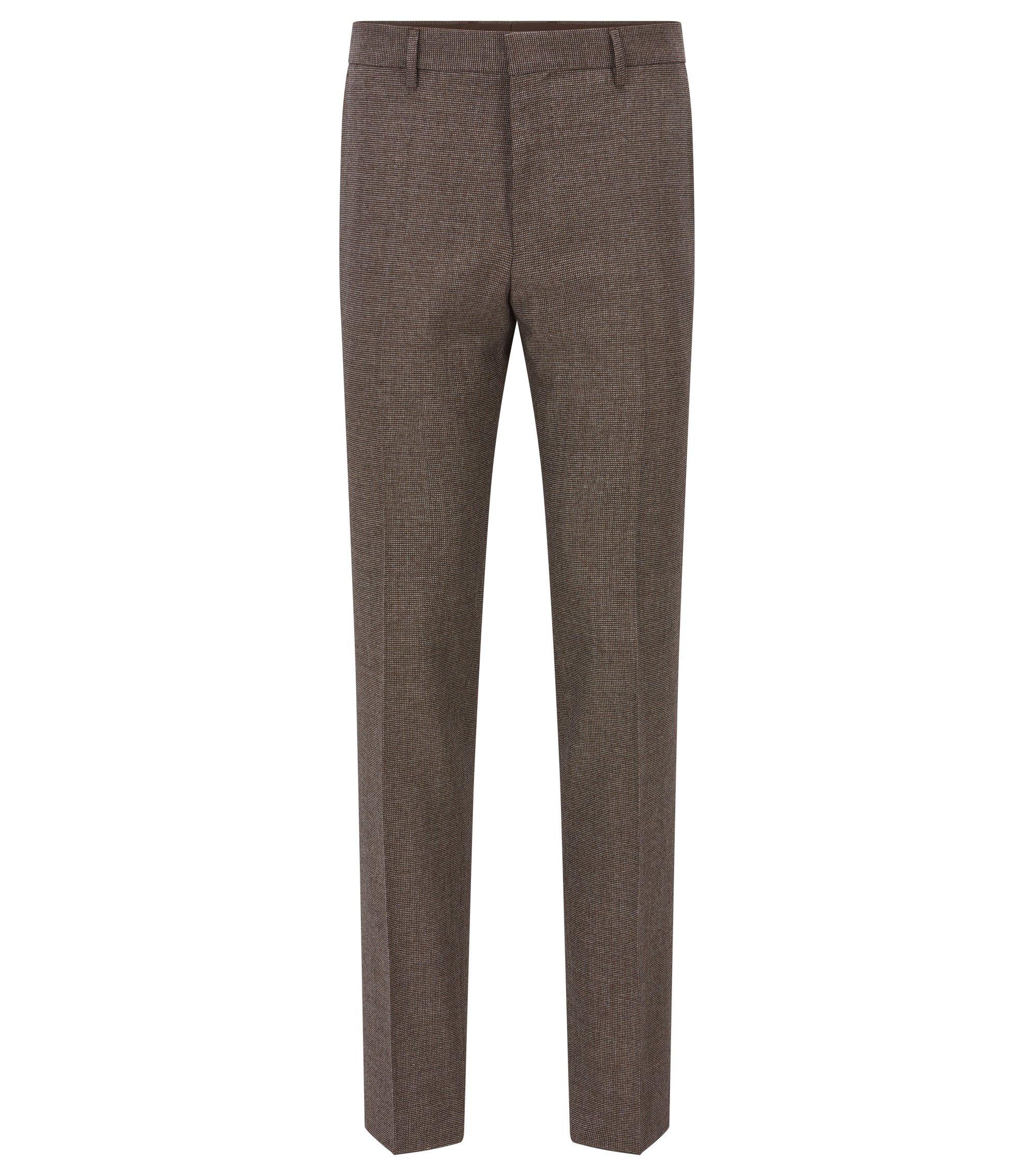 Nailhead Wool Cotton Dress Pants, Slim Fit | Giro, Khaki