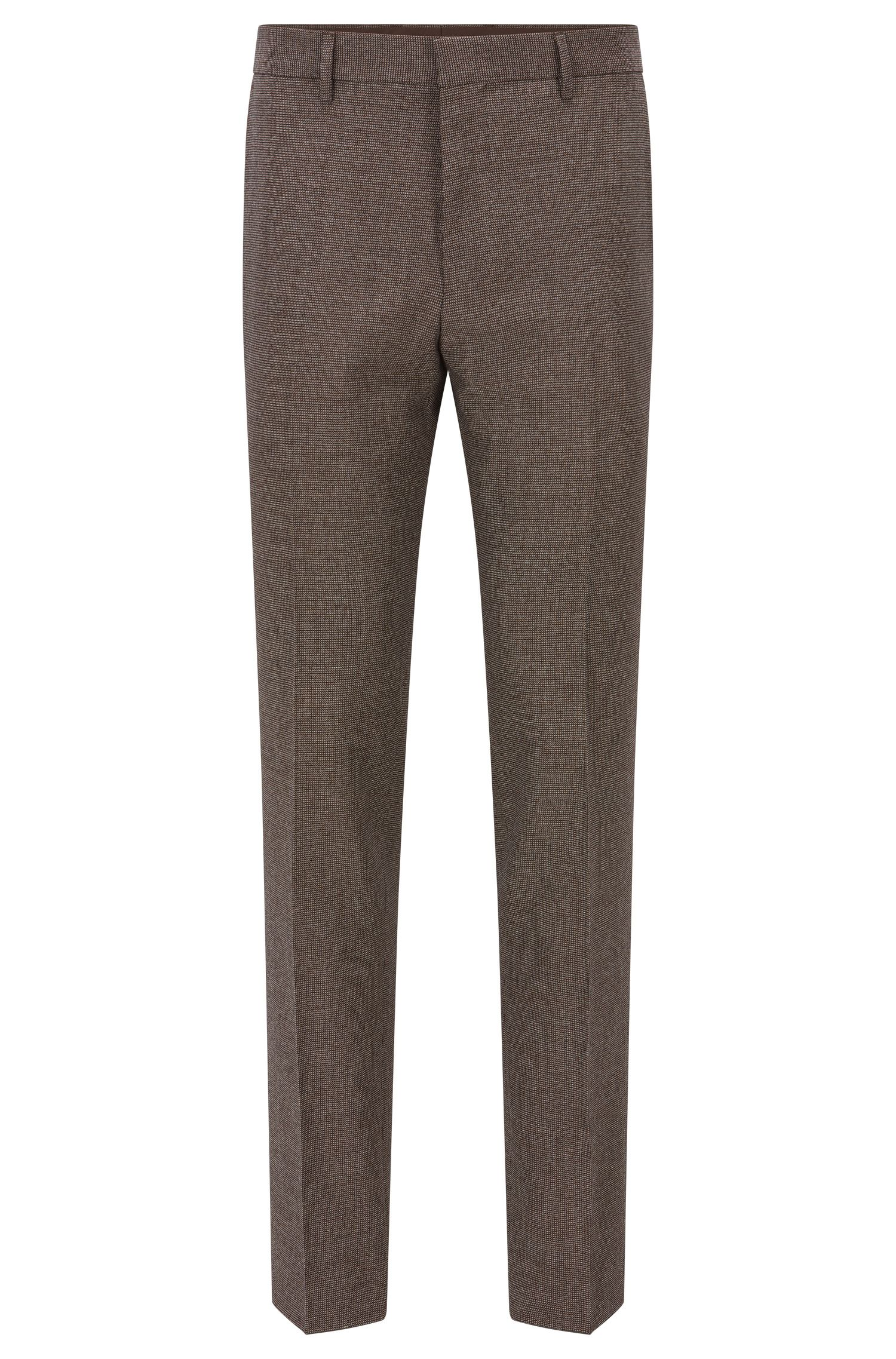 Nailhead Wool Cotton Dress Pants, Slim Fit | Giro, Khaki