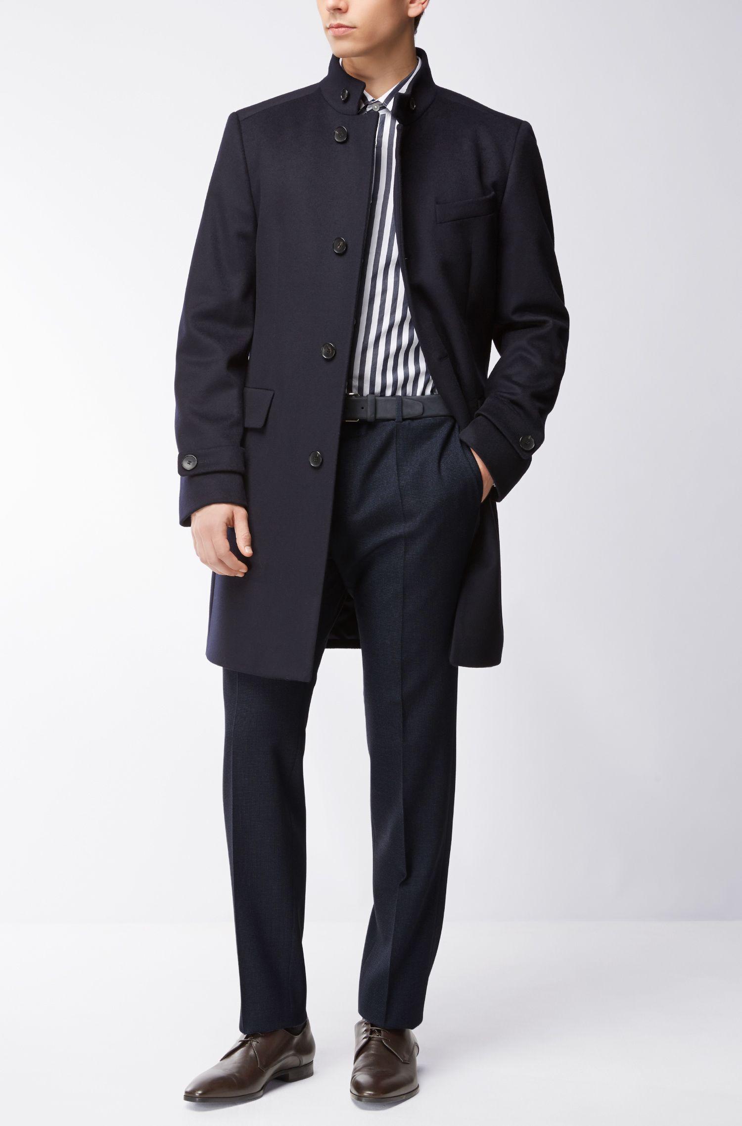 Nailhead Wool Cotton Dress Pants, Slim Fit | Giro, Dark Blue