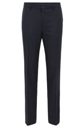 Nailhead Wool Cotton Dress Pants, Slim Fit | Giro, Dark Blue