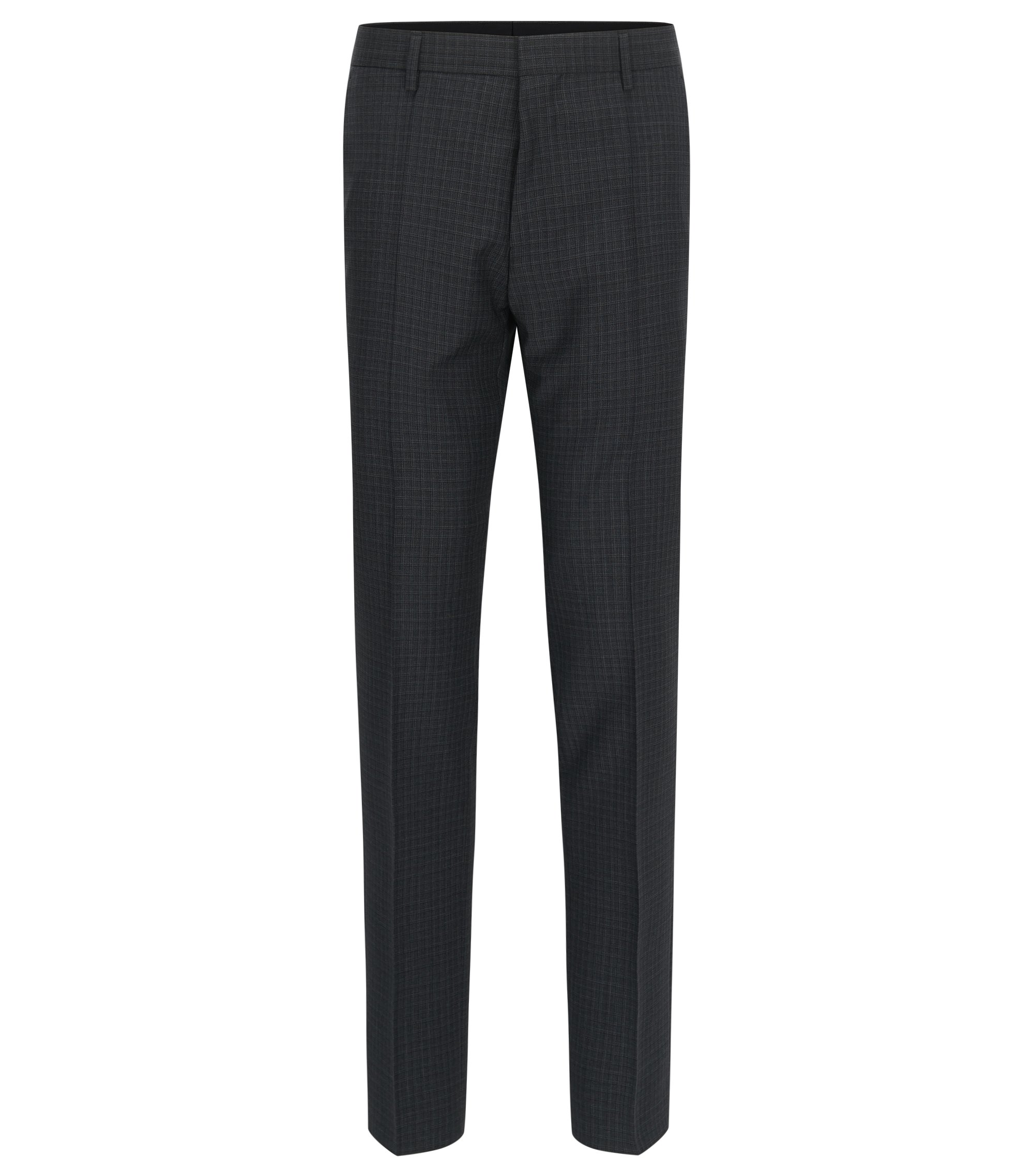Check Virgin Wool Dress Pant, Slim Fit | Genesis, Open Grey