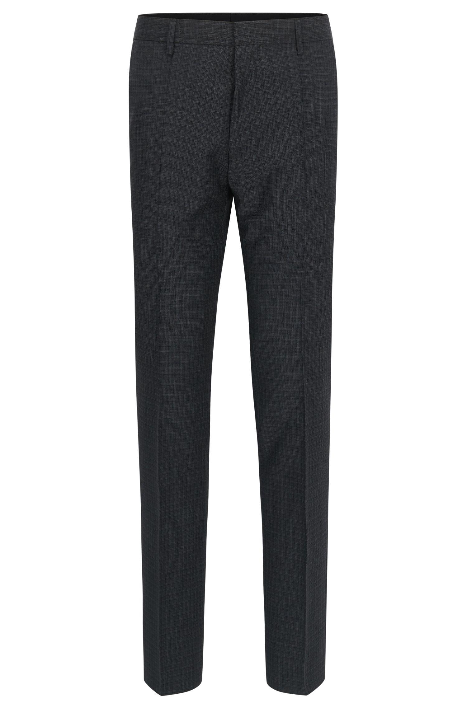 Check Virgin Wool Dress Pants, Slim Fit | Genesis