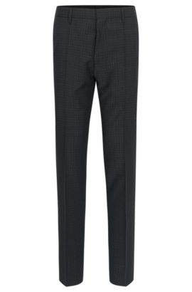 'Genesis' | Slim Fit, Check Virgin Wool Dress Pants, Open Grey