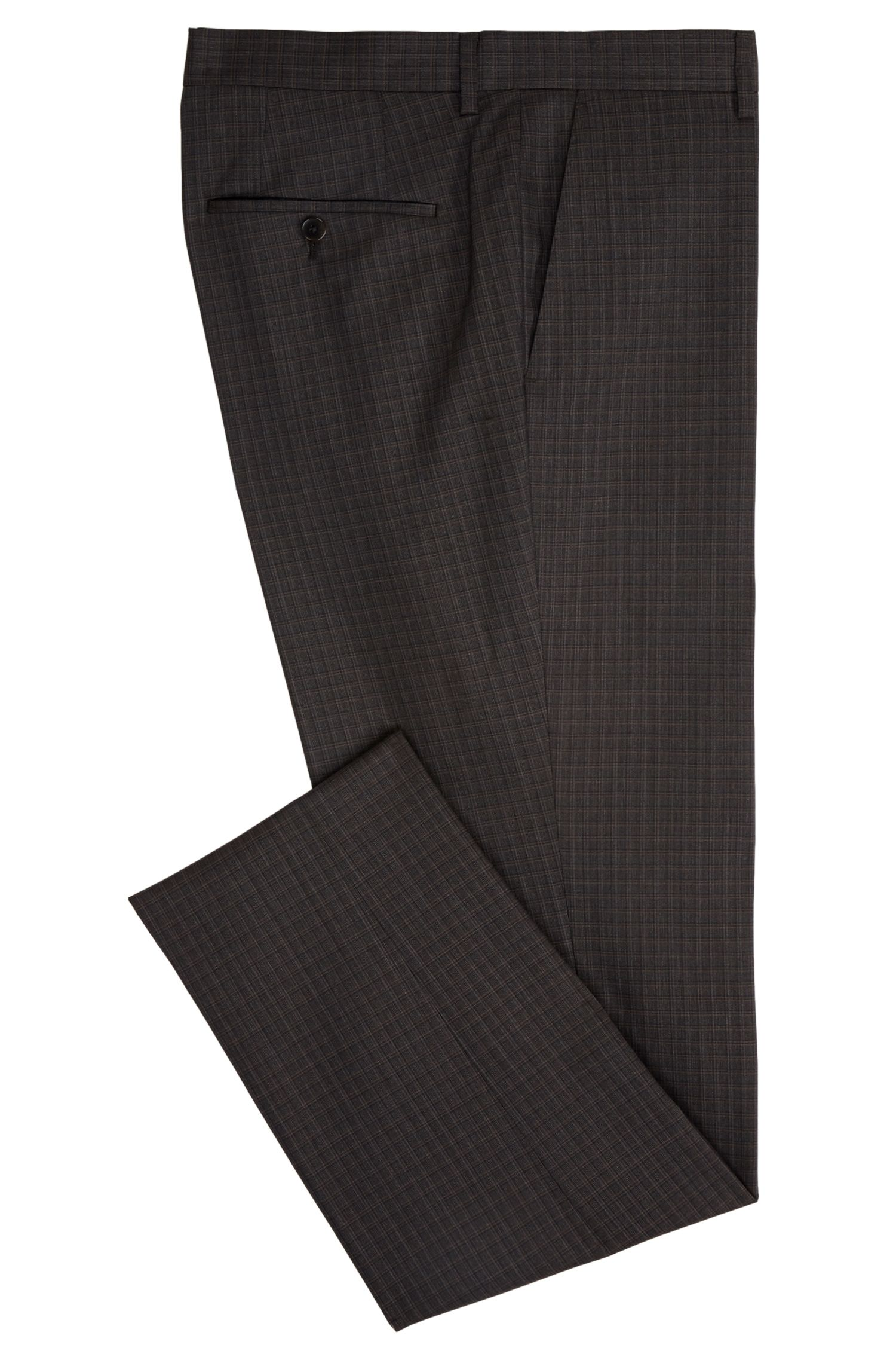 Check Virgin Wool Dress Pant, Slim Fit | Genesis