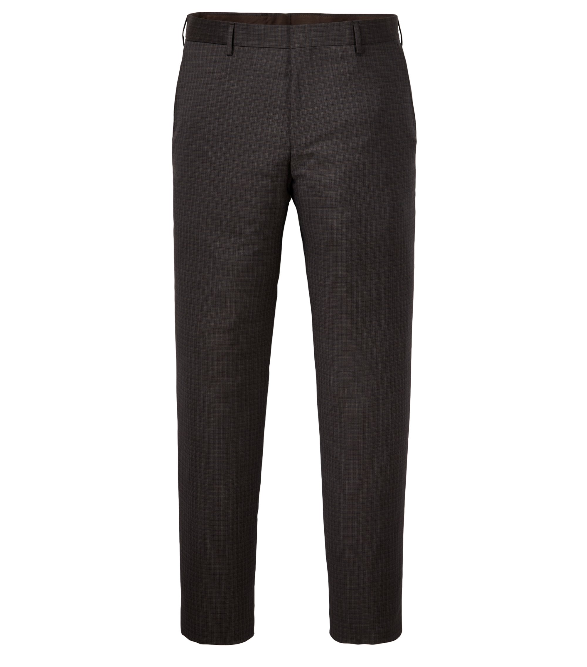 Check Virgin Wool Dress Pant, Slim Fit | Genesis, Dark Brown