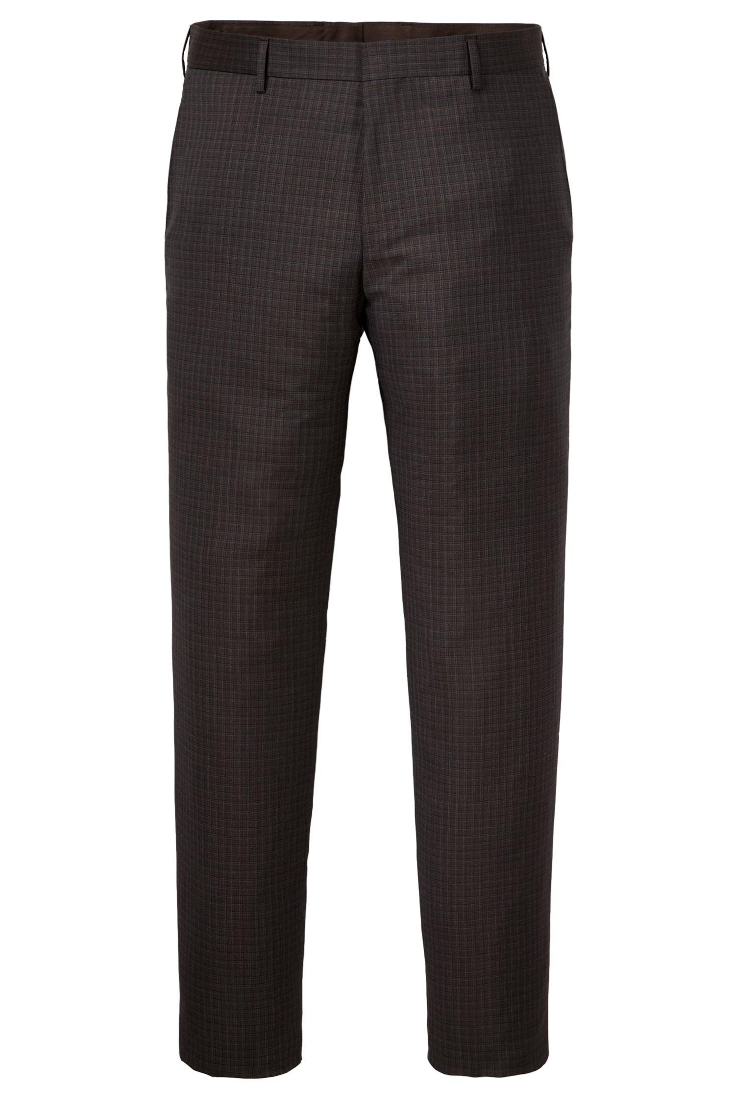 Check Virgin Wool Dress Pant, Slim Fit | Genesis