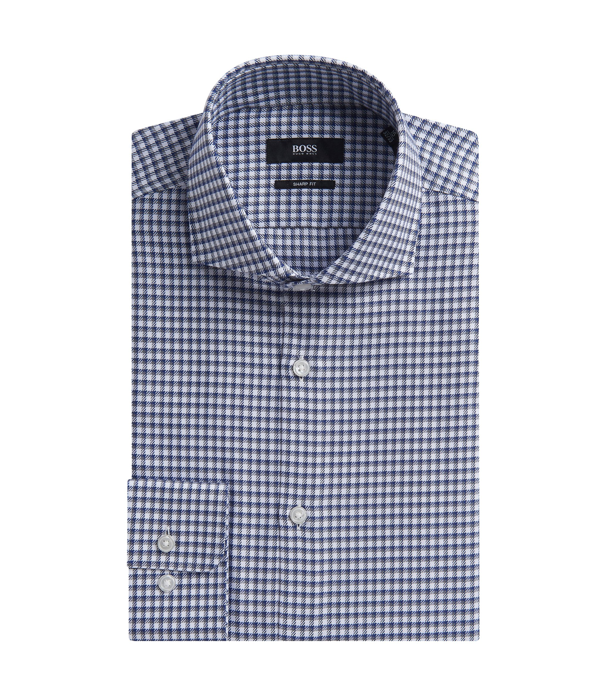 Checked Cotton Dress Shirt, Sharp Fit | Mark US, Grey