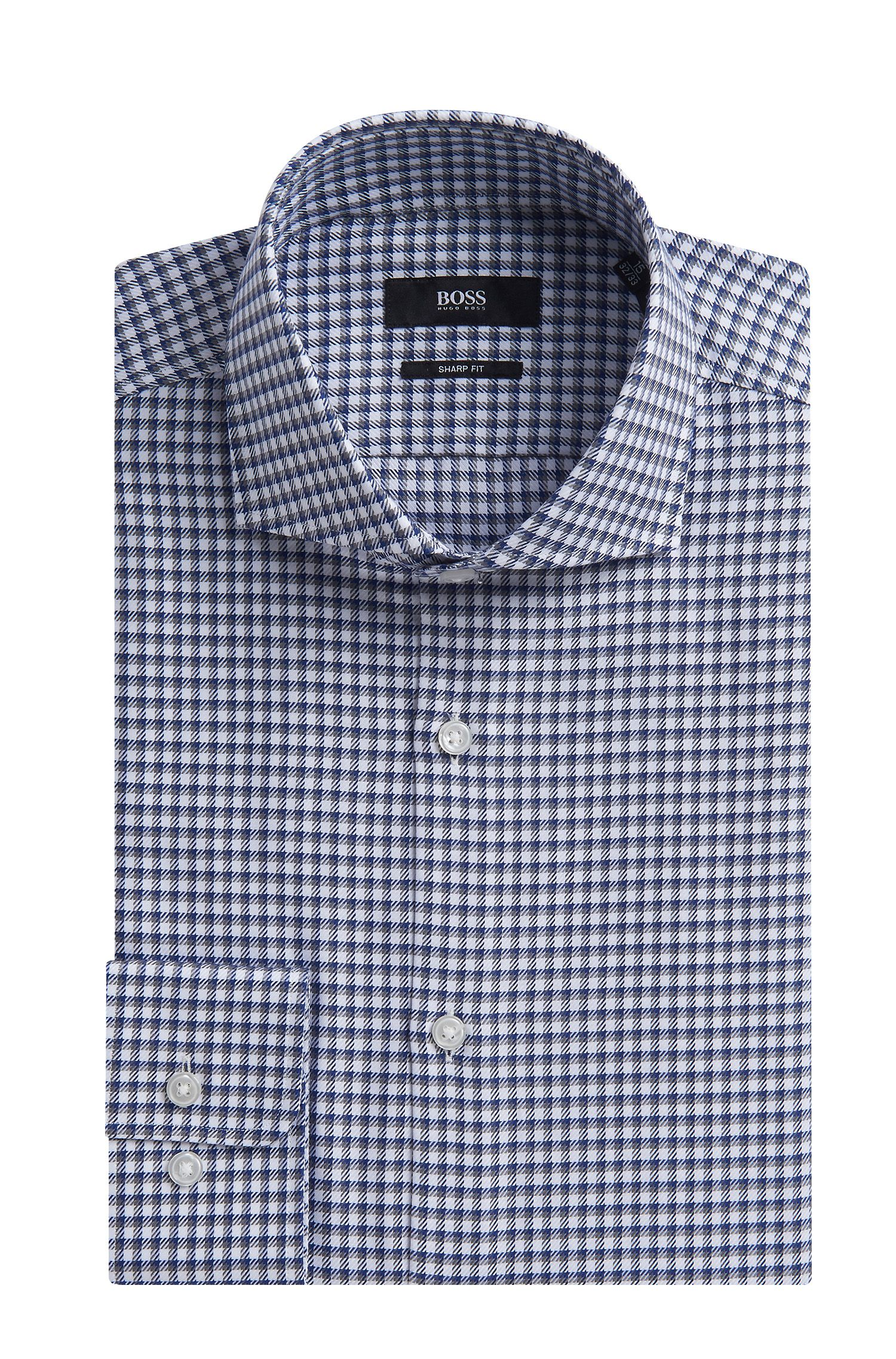 Checked Cotton Dress Shirt, Sharp Fit | Mark US