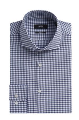 Check Cotton Dress Shirt, Sharp Fit | Mark US, Grey