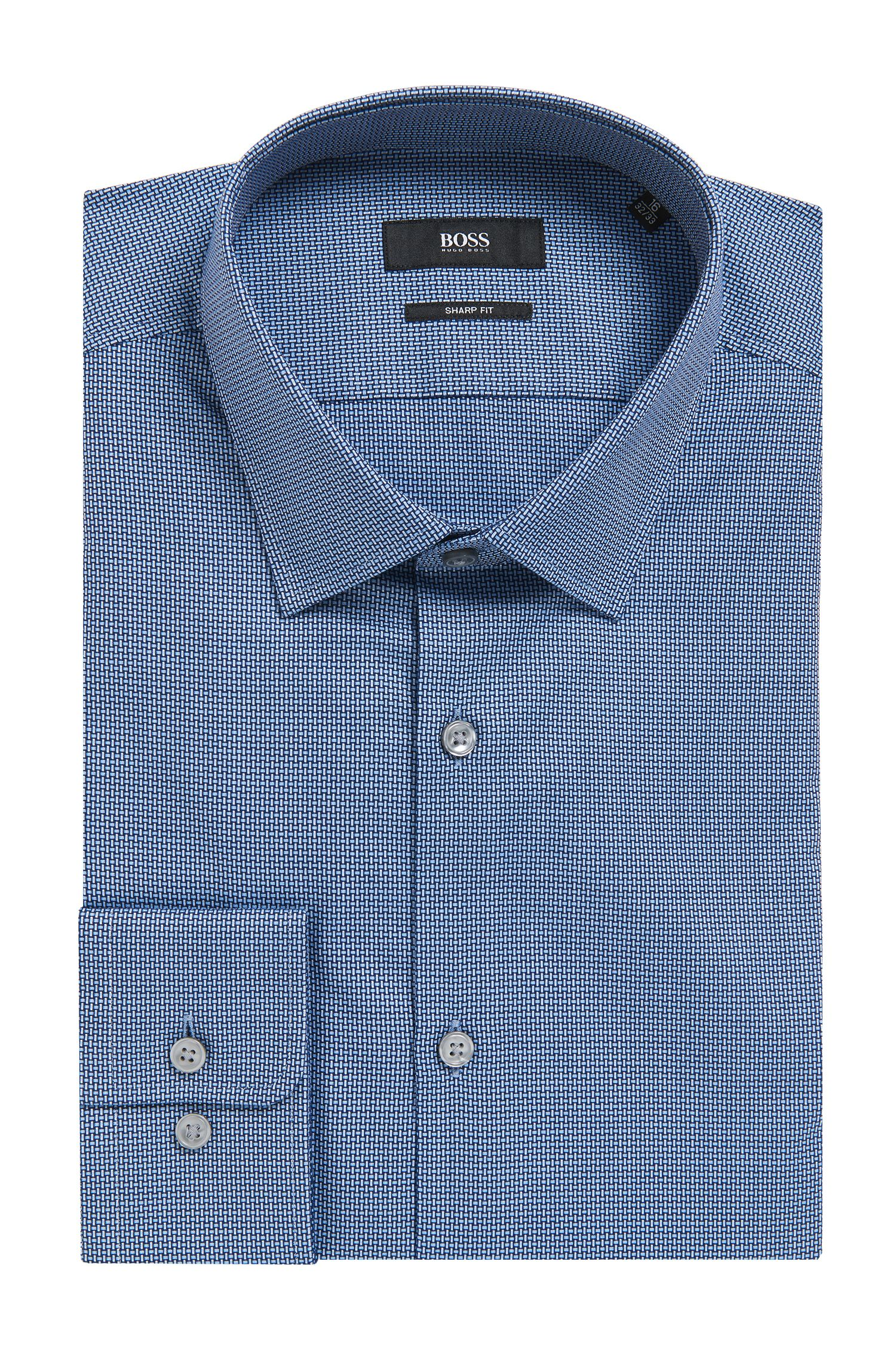 Geometric Cotton Dress Shirt, Sharp Fit | Marley US