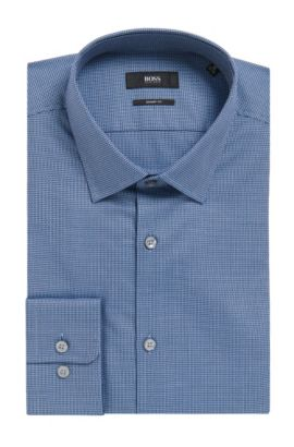 Geometric Cotton Dress Shirt, Sharp Fit | Marley US, Dark Blue