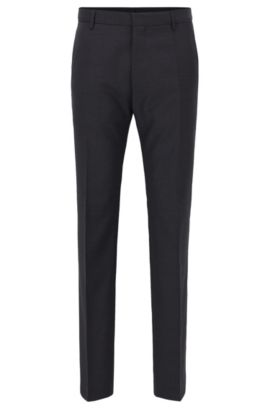 Traveler Virgin Wool Trousers, Slim Fit | Barnes, Dark Grey