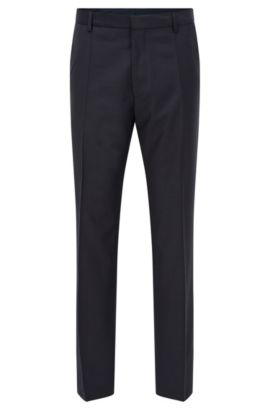 Traveler Virgin Wool Trousers, Slim Fit | Barnes, Dark Blue