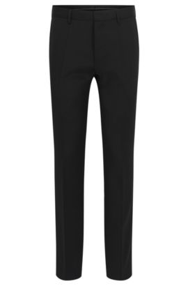 Virgin Wool Dress Pants, Slim Fit | Genesis, Black