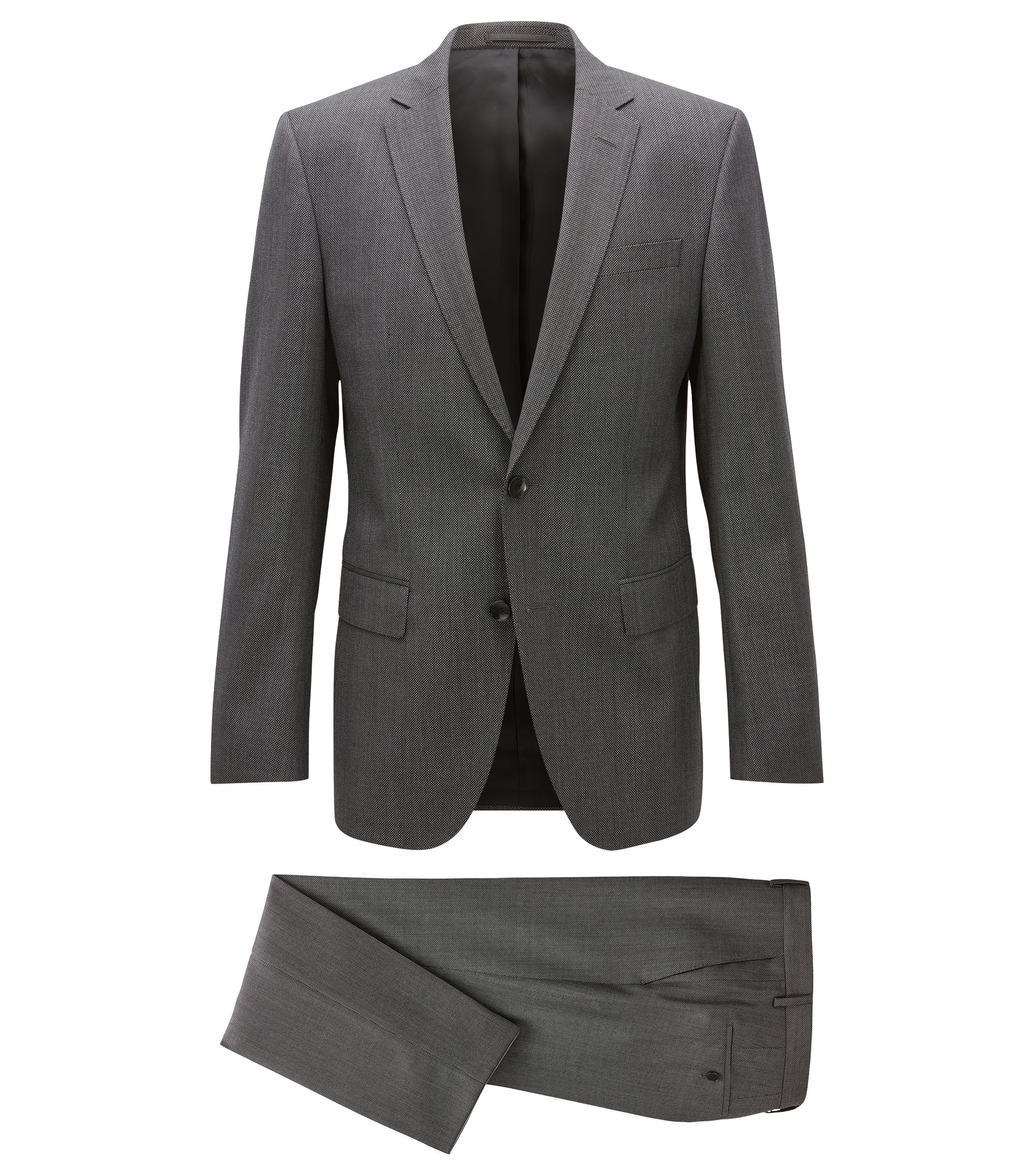 Birdseye Italian Virgin Wool Suit, Slim Fit | Huge/Genius, Grey