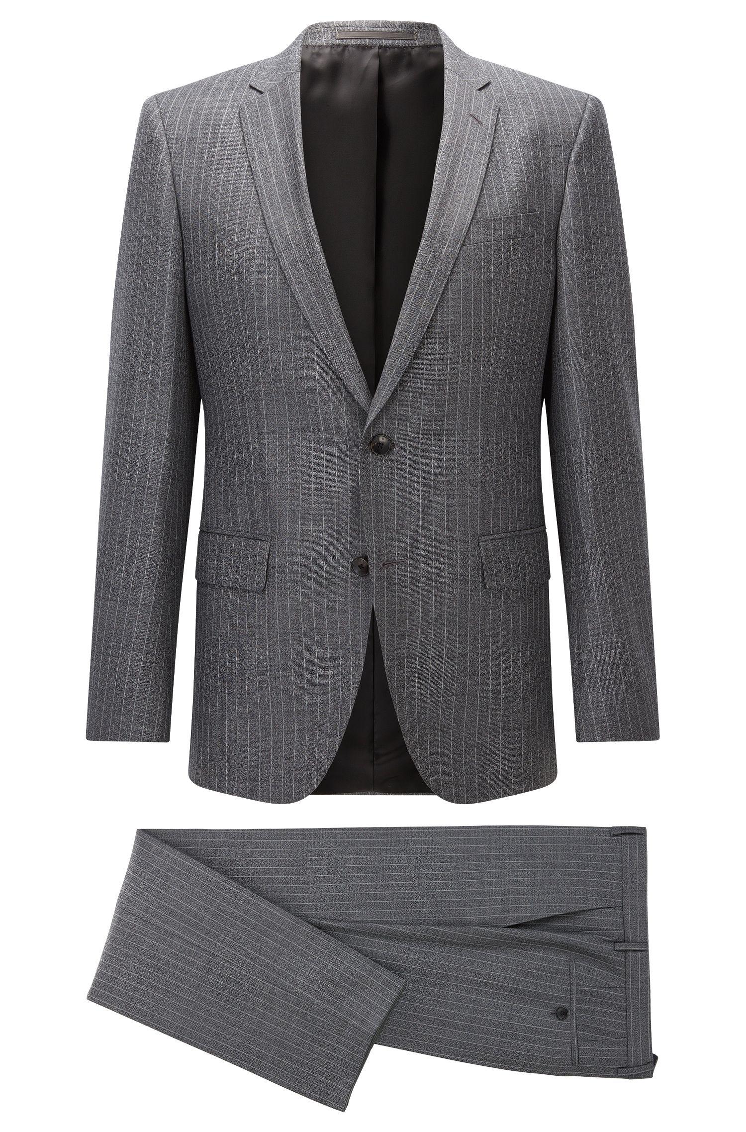 Pinstriped Super 130 Virgin Wool Suit, Slim Fit   Huge/Genius