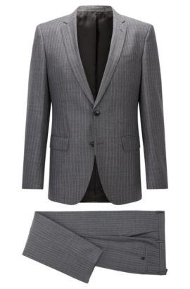 Pinstriped Super 130 Virgin Wool Suit, Slim Fit | Huge/Genius, Open Grey