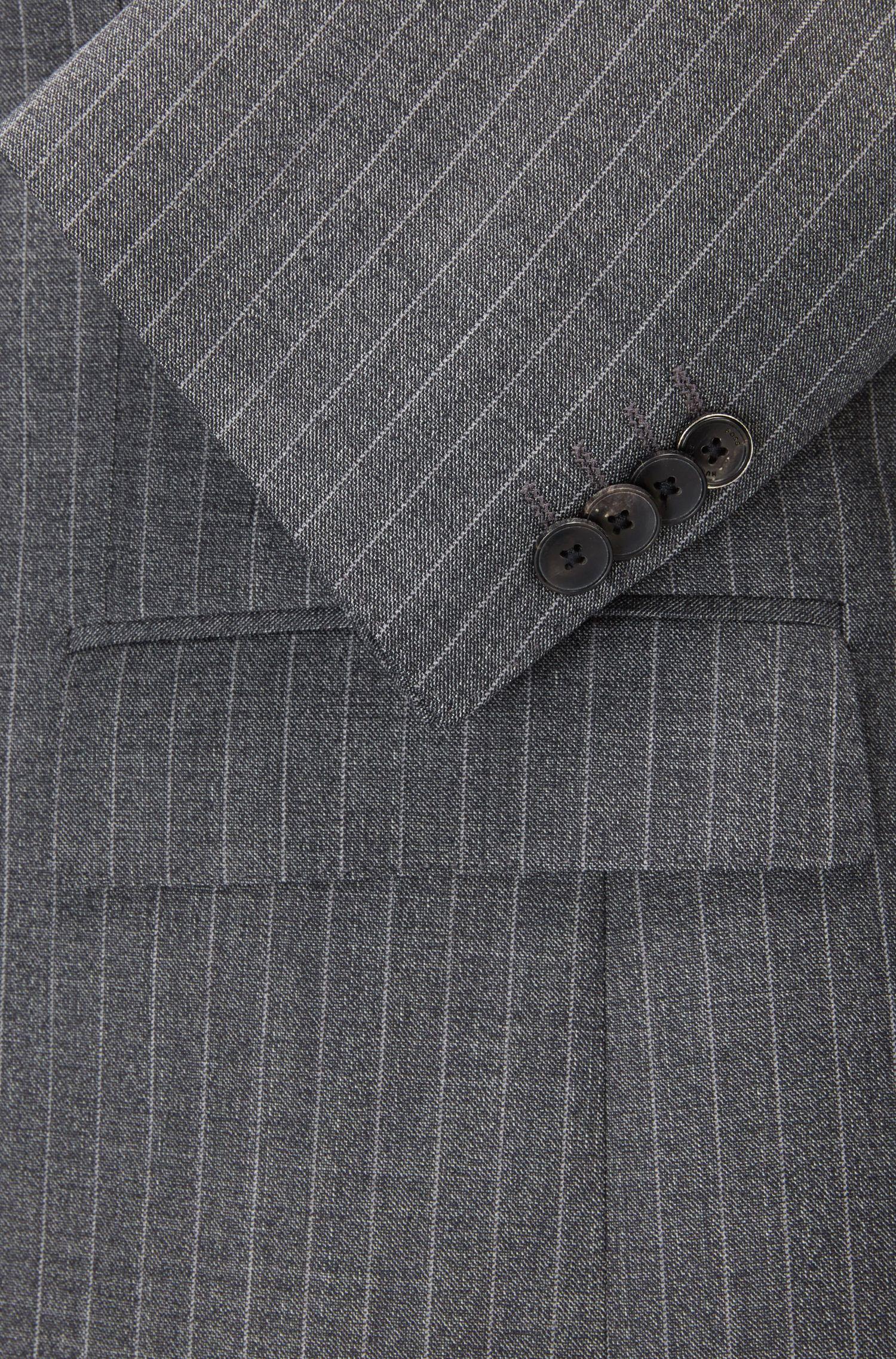 Pinstriped Virgin Wool Suit, Slim Fit | Huge/Genius, Open Grey