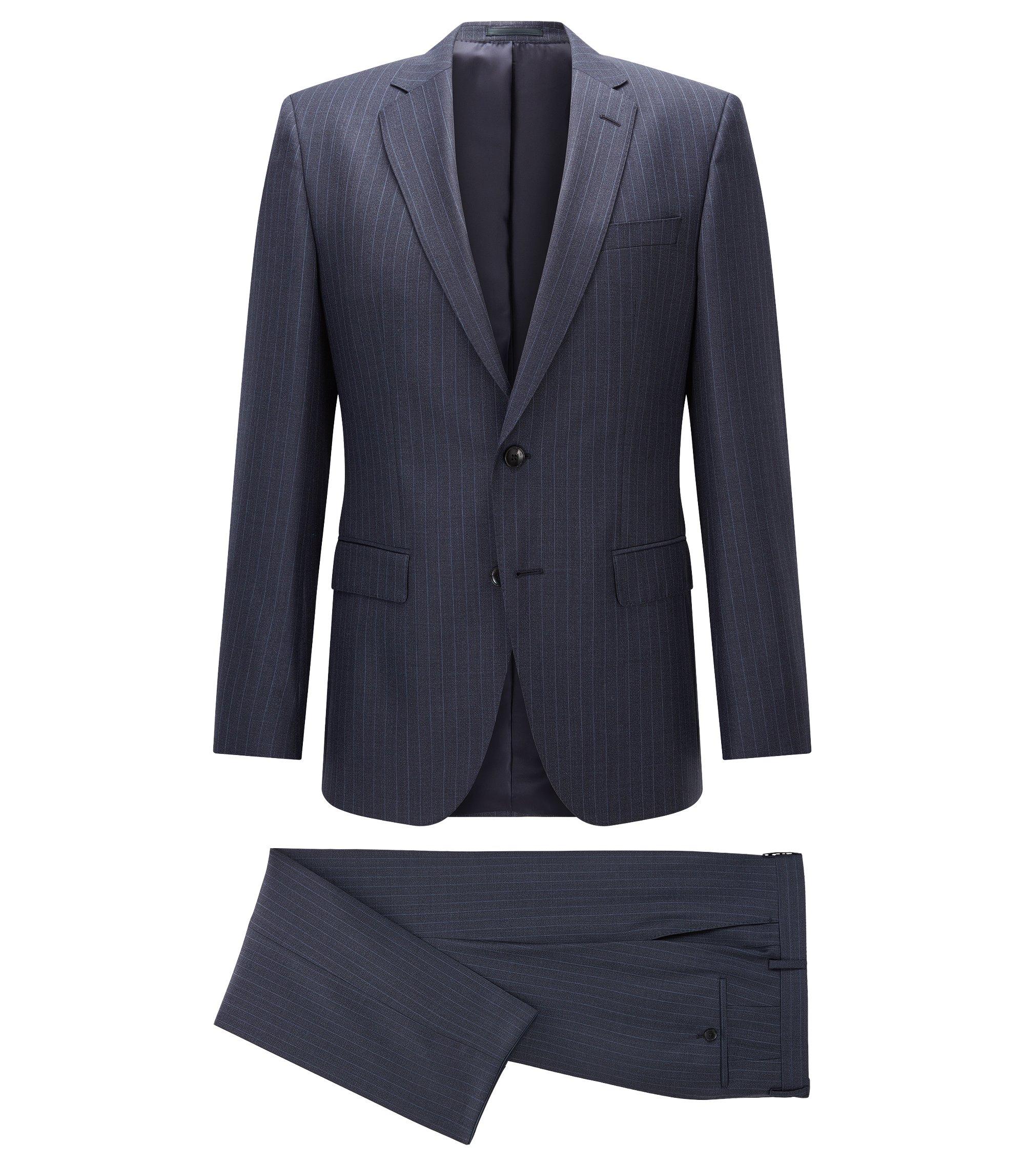 Pinstriped Virgin Wool Suit, Slim Fit | Huge/Genius, Dark Blue
