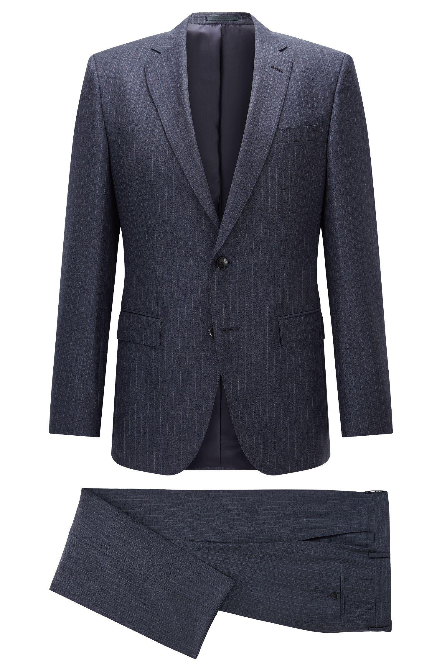 Pinstriped Super 130 Wool Suit, Slim Fit | Huge/Genius