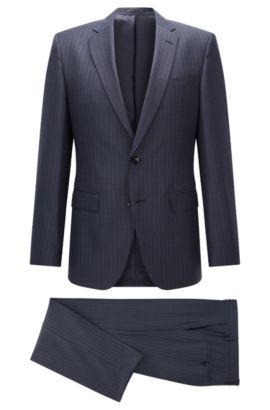 Pinstriped Super 130 Wool Suit, Slim Fit | Huge/Genius, Dark Blue