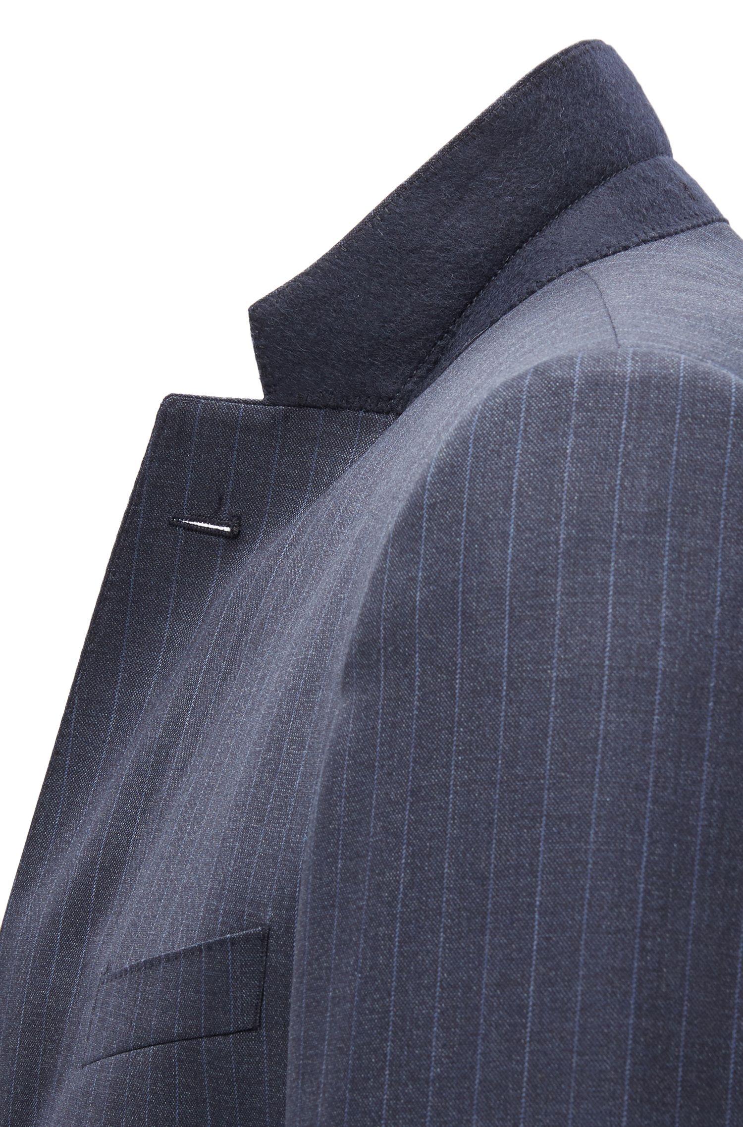 Pinstriped Virgin Wool Suit, Slim Fit | Huge/Genius