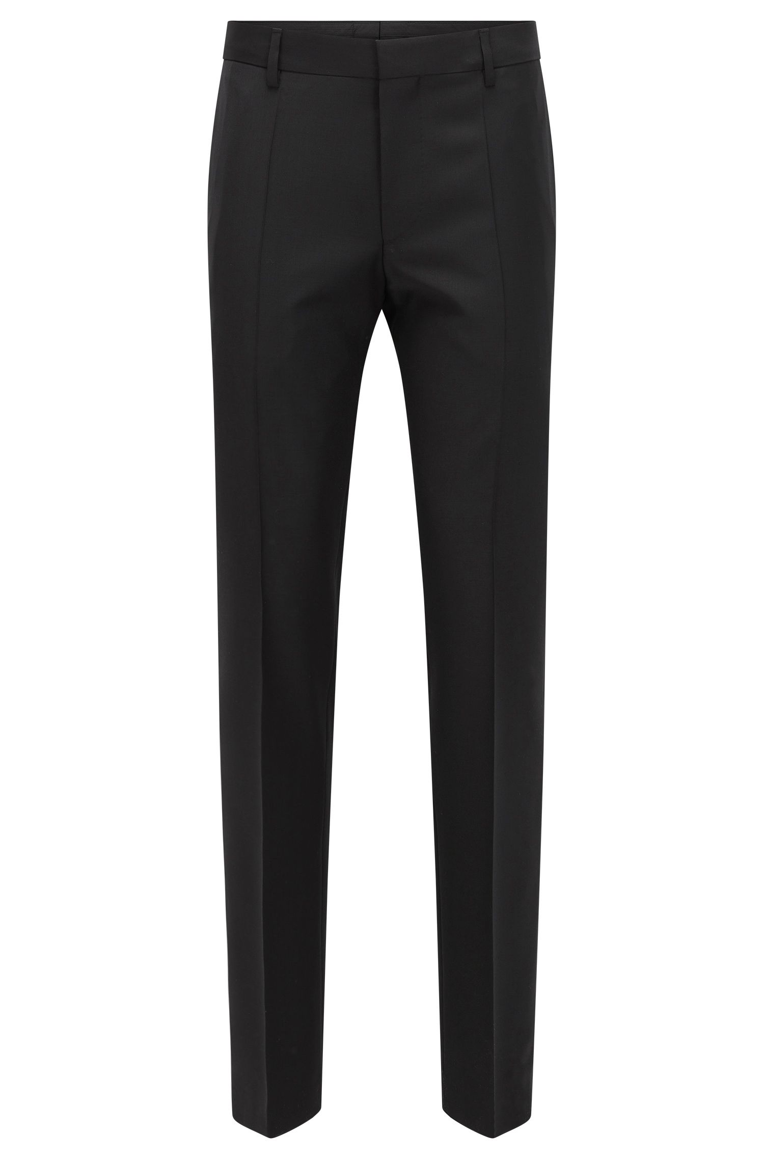 Virgin Wool Cashmere Dress Pant, Slim Fit | Benso, Black