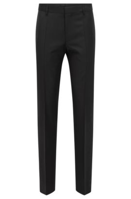 Virgin Wool Cashmere Dress Pants, Slim Fit | Benso, Black