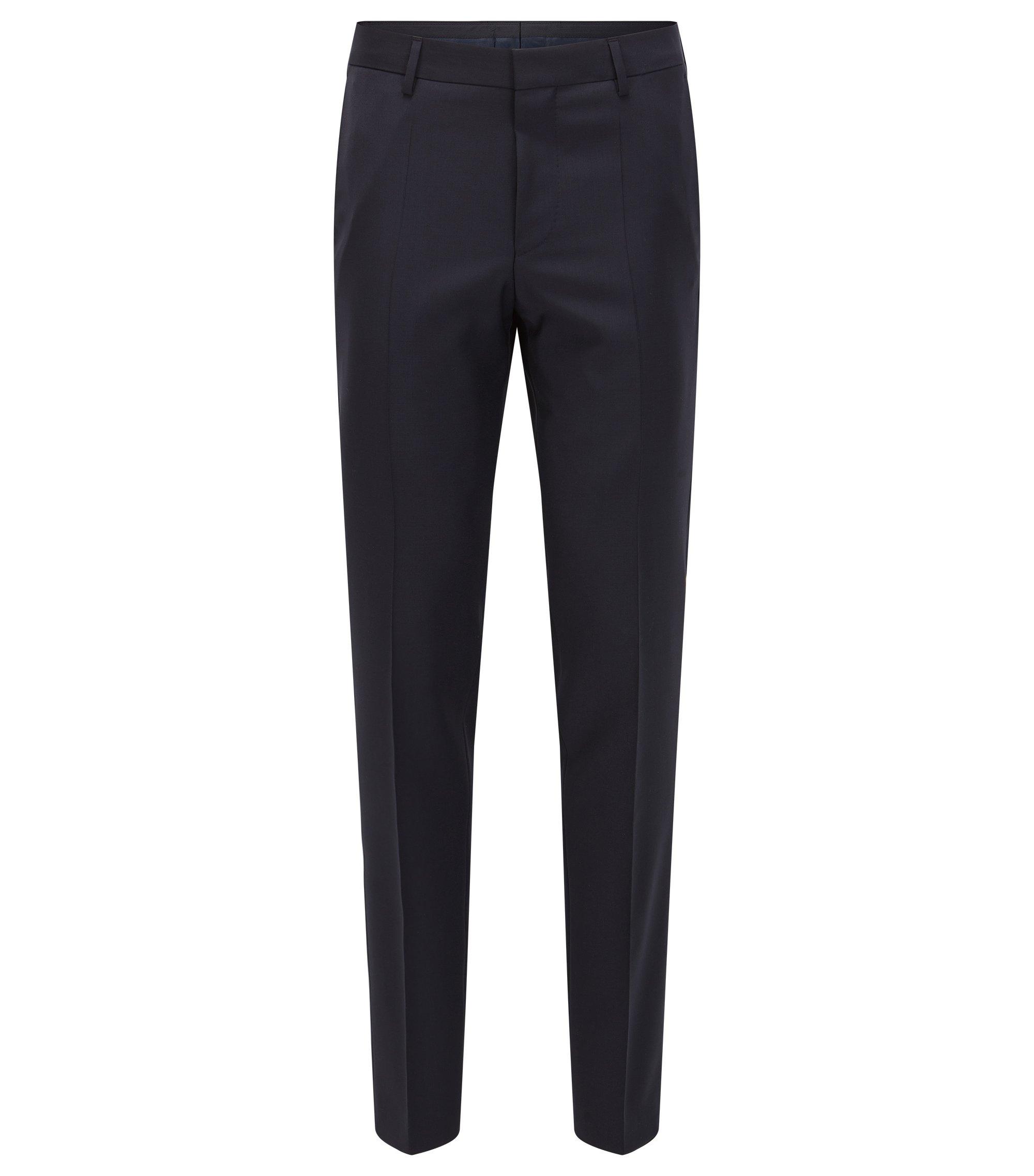 Virgin Wool Cashmere Dress Pant, Slim Fit | Benso, Dark Blue