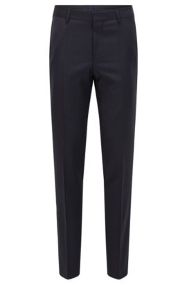 Virgin Wool Cashmere Dress Pants, Slim Fit | Benso, Dark Blue