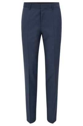 Virgin Wool Cashmere Dress Pants, Slim Fit | Benso, Open Blue