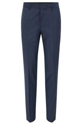 Virgin Wool Cashmere Dress Pants, Slim Fit | Benso, Open Blue