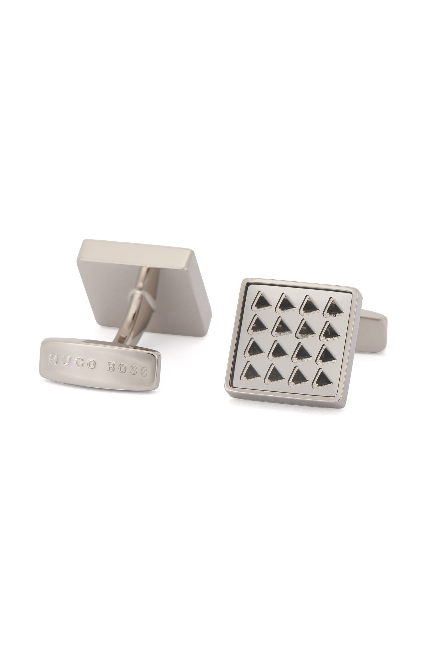 Enamel & Brass Cufflinks | Ricky, Light Grey