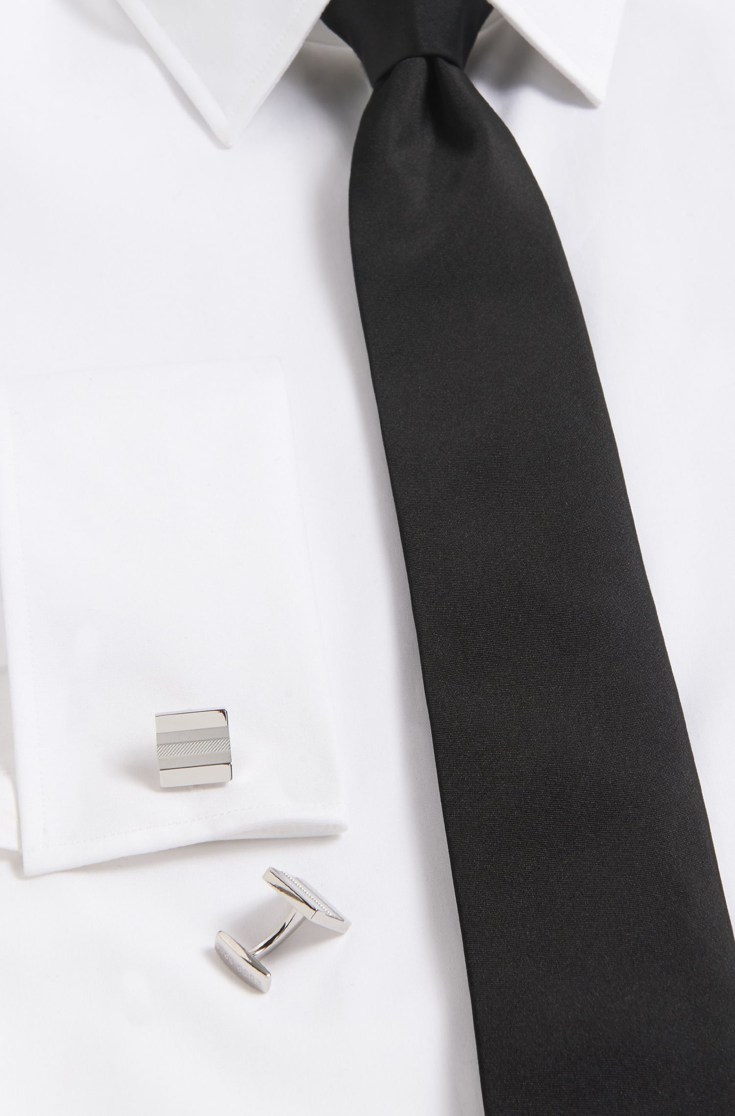Striped Brass Cufflinks | Percy, Silver