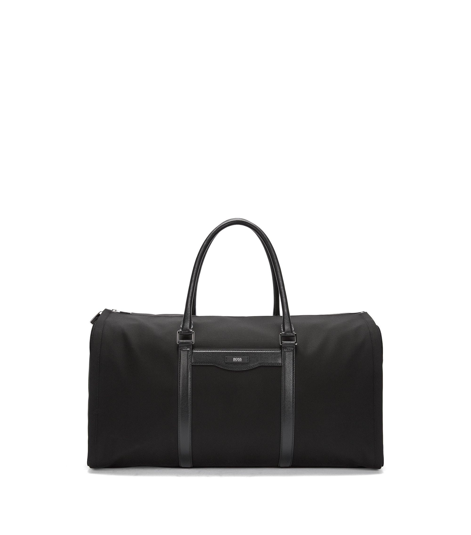 Nylon & Leather Travel Bag | Signature L Trav Bag, Black