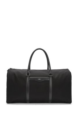 Nylon & Leather Travel Bag | Signature L Trav Bag, Black