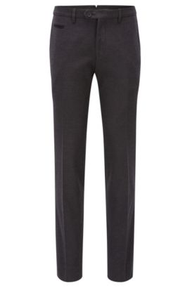 'Wilhelm' | Extra Slim Fit, Stretch Cotton Dress Pants, Open Grey