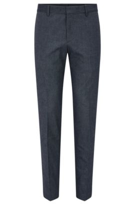 Cotton Blend Dress Pant, Slim Fit | Benso, Blue