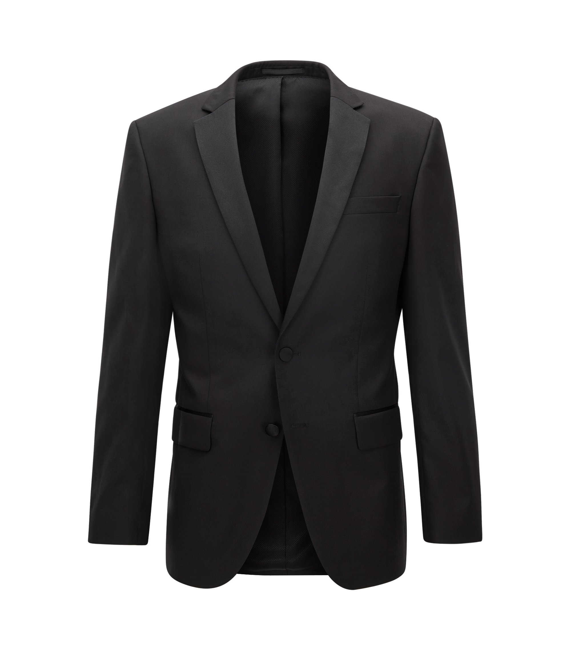 Italian Virgin Wool Suit Jacket, Slim Fit | Hence CYL, Black