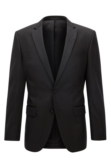 Slim-fit virgin wool jacket with silk details, Black