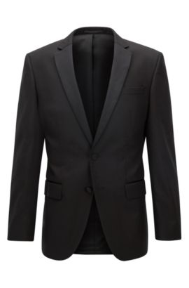 Italian Super 120 Wool Suit Jacket, Slim Fit | Hence CYL, Black