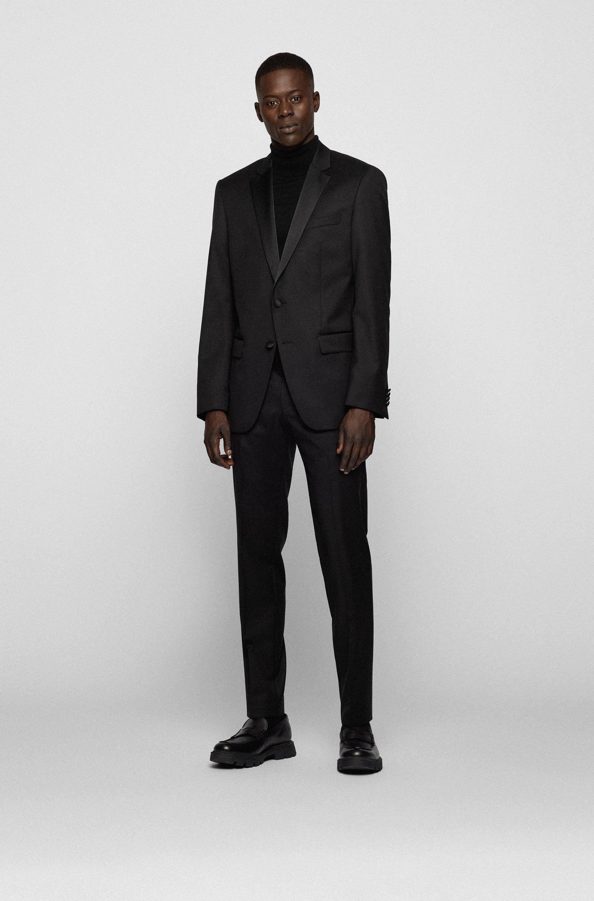 Slim-fit virgin wool jacket with silk details