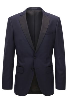 Italian Super 120 Wool Suit Jacket, Slim Fit | Hence CYL, Dark Blue