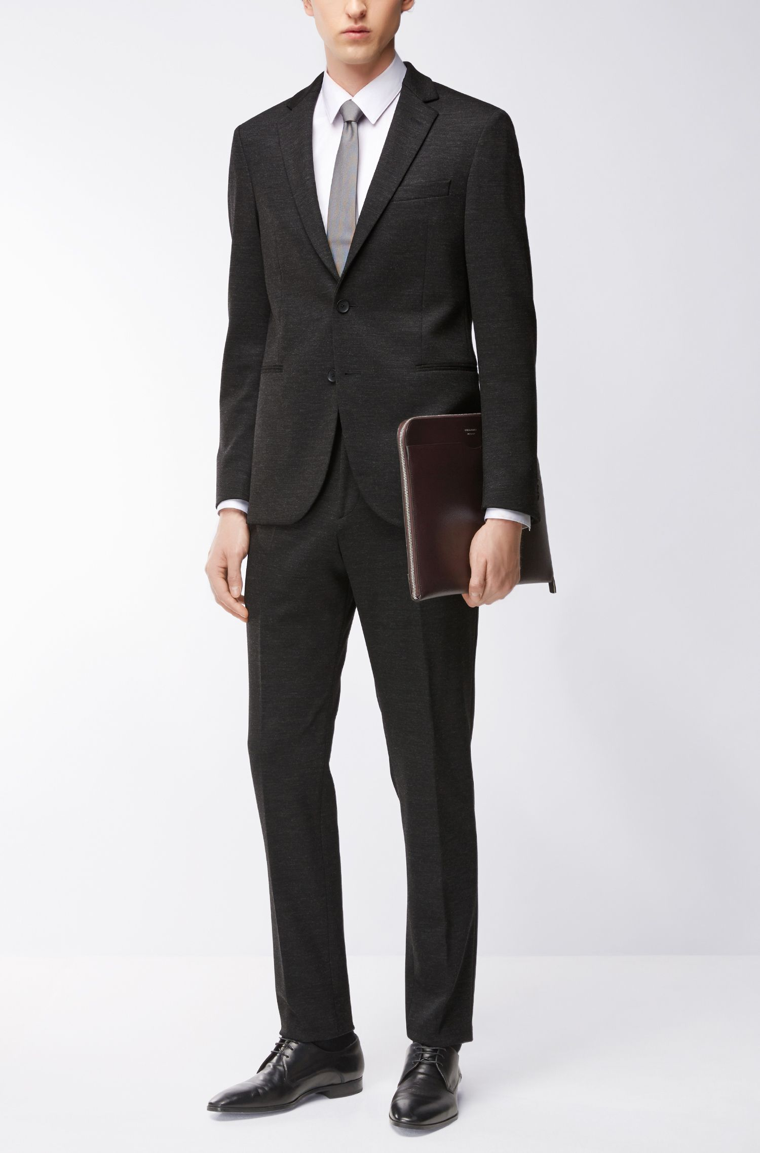 Jersey Suit with Stretch Tailoring, Slim Fit | Nilon/Bryan , Charcoal