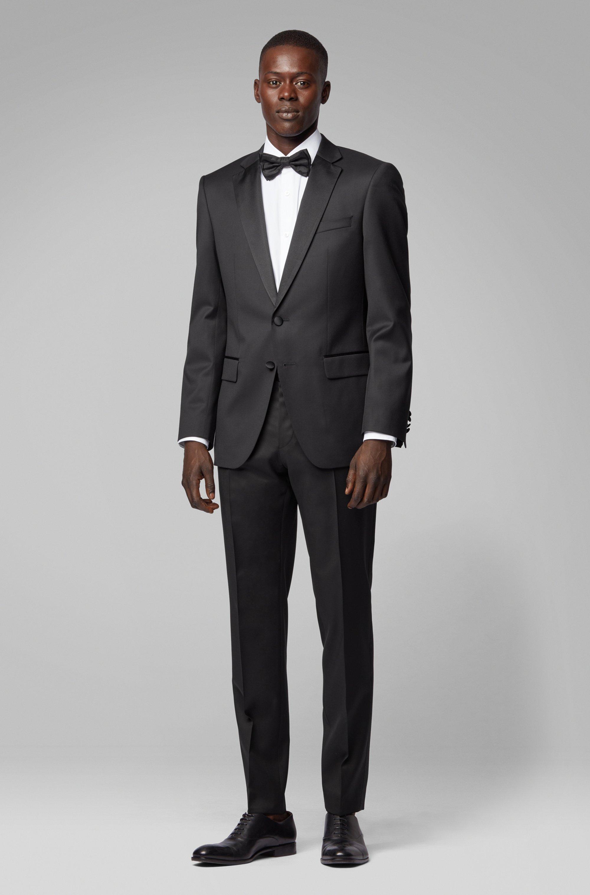 Slim-fit formal pants in virgin wool with silk trims, Black