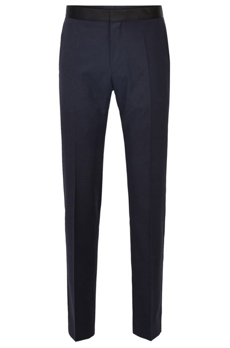 Slim-fit formal pants in virgin wool with silk trims, Dark Blue
