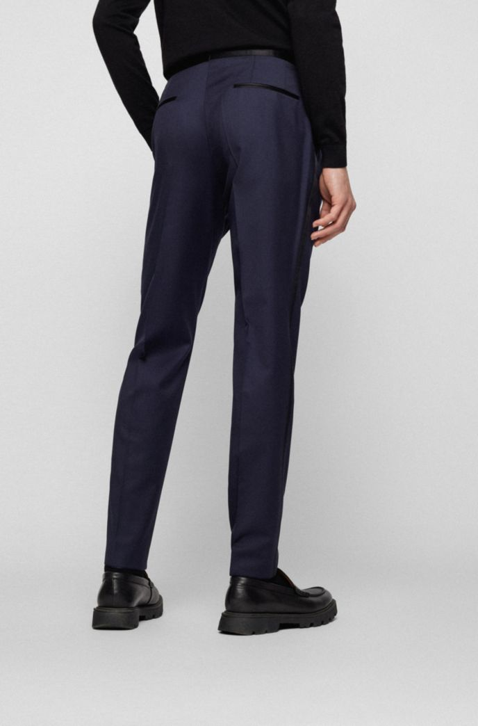 Slim-fit formal pants in virgin wool with silk trims